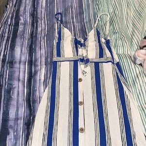 Midi blue & white dress